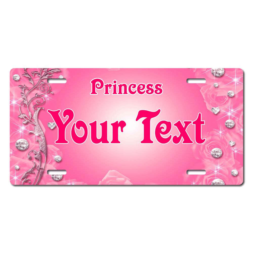 Pink Diamonds Princess License Plate for Bikes, Bicycles, ATVs, Cart, Walkers, Motorcycles, Wagons and Vehicles