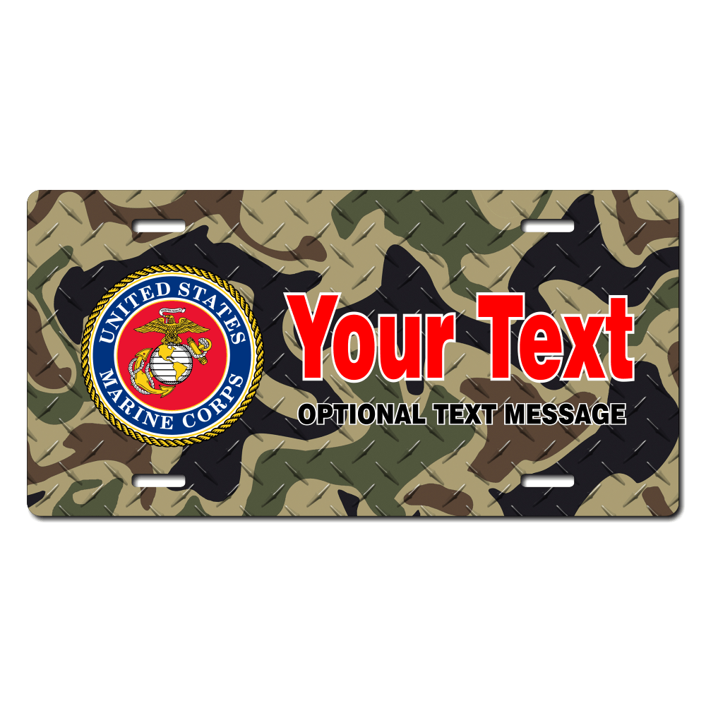 US Marines Seal / Woodland Camo Background License Plate for Bikes, Bicycles, ATVs, Cart, Walkers, Motorcycles, Wagons and Vehicles