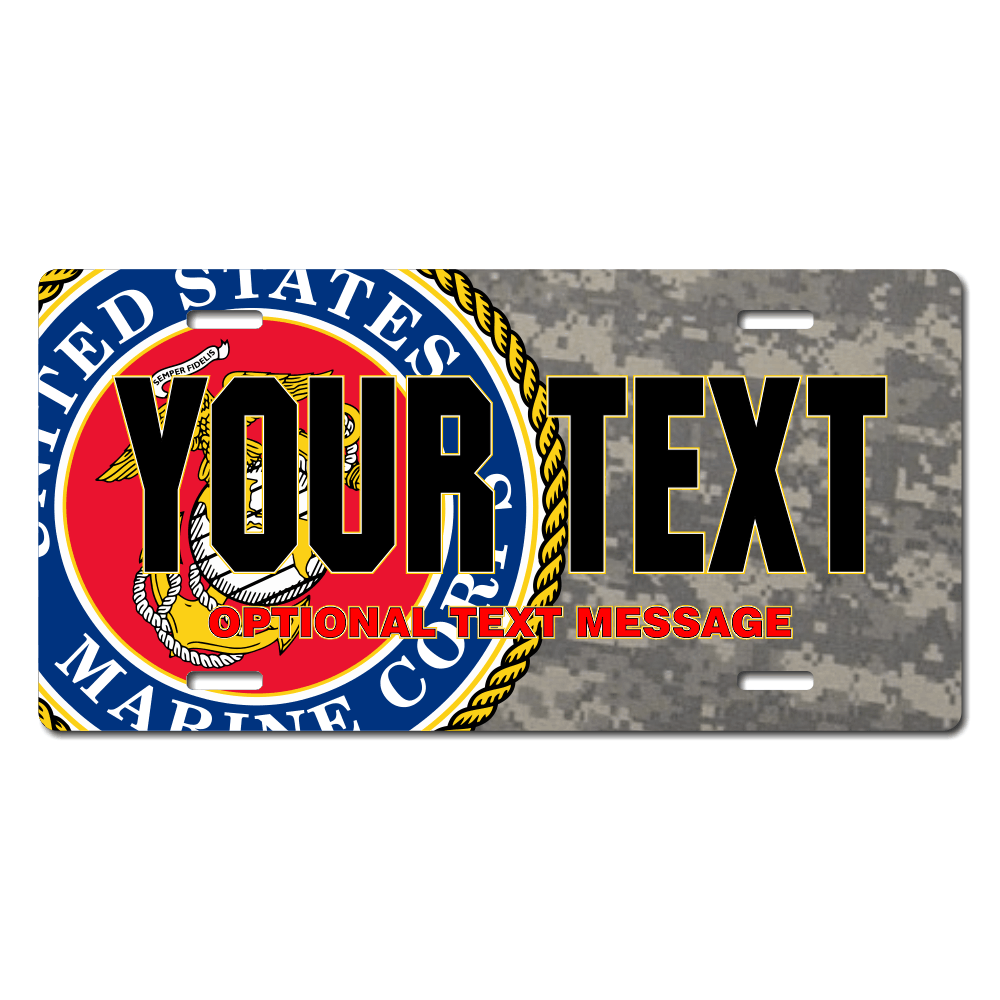 U.S. Marines Seal / Digital Camo Background License Plate for Bikes, Bicycles, ATVs, Cart, Walkers, Motorcycles, Wagons and Vehicle