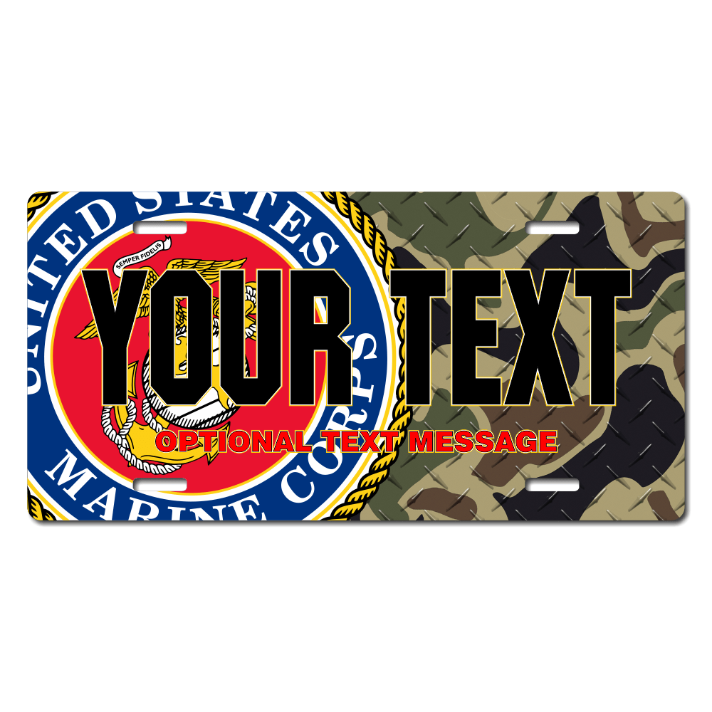 U.S. Marines Seal / Woodland Camo Background License Plate for Bikes, Bicycles, ATVs, Cart, Walkers, Motorcycles, Wagons and Vehicle