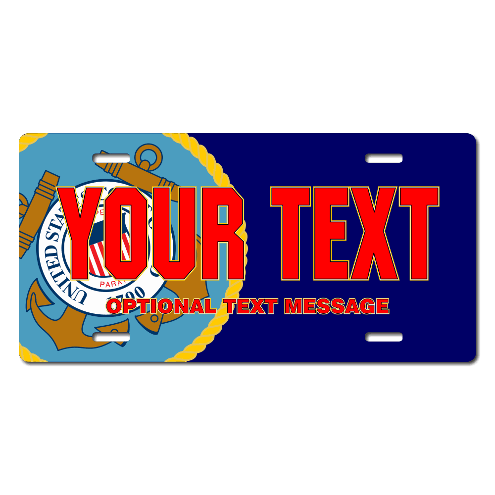 Coast Guard Seal / Navy Background License Plate for Bikes, Bicycles, ATVs, Cart, Walkers, Motorcycles, Wagons and Vehicles
