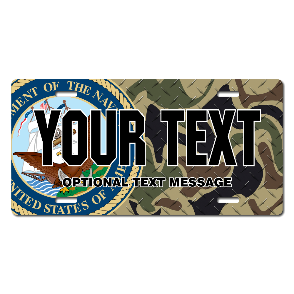 US Navy Seal w/ Woodland Camo Background License Plate for Bikes, Bicycles, ATVs, Cart, Walkers, Motorcycles, Wagons and Vehicles