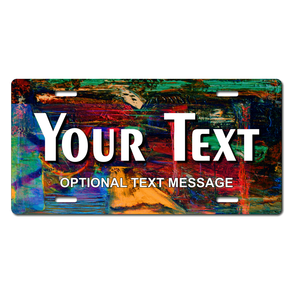 Abstract Painting License Plate for Bikes, Bicycles, ATVs, Cart, Walkers, Motorcycles, Wagons and Vehicles