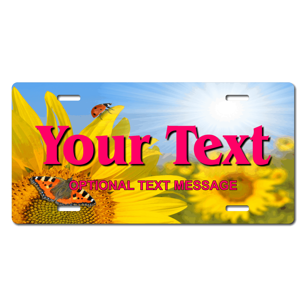 Sunflower Butterfly Background Plate for Bikes, Bicycles, ATVs, Cart, Walkers, Motorcycles, Wagons and Vehicles