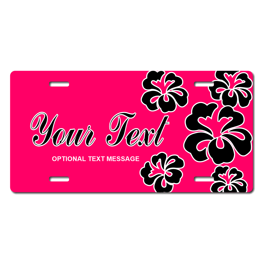 Pink Background / Black Hawaiian Flowers Background License Plate for Bikes, Bicycles, ATVs, Cart, Walkers, Motorcycles, Wagons and Vehicles