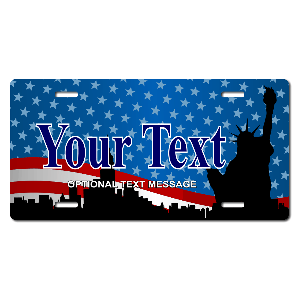 Statue of Liberty Patriotic License Plate for Bikes, Bicycles, ATVs, Cart, Walkers, Motorcycles, Wagons and Vehicles