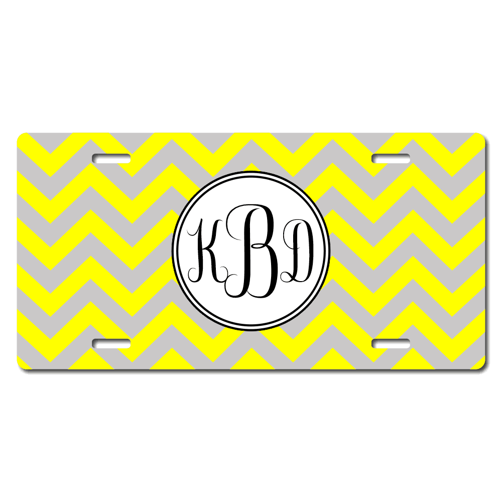 Chevron Monogram License Plate for Bikes, Bicycles, ATVs, Cart, Walkers, Motorcycles, Wagons and Vehicles