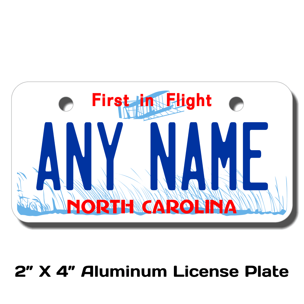 "NORTH CAROLINA custom novelty bicycle mini license plate name or text 4/""x9/"""
