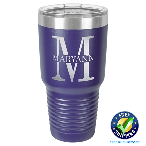 Personalized 30 oz Laser Engraved Tumbler with Letter Monogram - Free Rush Service - Free Shipping