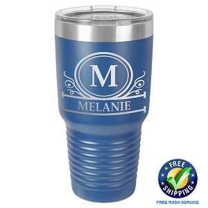 Personalized 30 oz Laser Engraved Tumbler with Royal Banner Design - Free Rush Service - Free Shipping