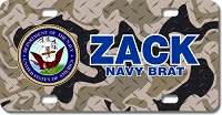 US Navy Seal / Brown Camo Background License Plate for Bikes, Bicycles, ATVs, Cart, Walkers, Motorcycles, Wagons and Vehicles