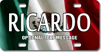 Mexico Flag Plate for Bikes, Bicycles, ATVs, Cart, Walkers, Motorcycles, Wagons and Vehicles