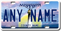 Mississippi License Plate for Bikes, Bicycles, ATVs, Cart, Walkers, Motorcycles, Wagons and Vehicles