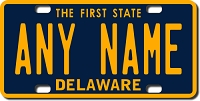 Delaware License Plate for Bikes, Bicycles, ATVs, Cart, Walkers, Motorcycles, Wagons and Vehicles