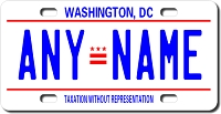 District of Columbia License Plate for Bikes, Bicycles, ATVs, Cart, Walkers, Motorcycles, Wagons and Vehicles