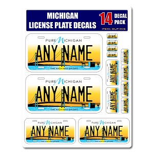 Personalized Michigan License Plate Decals - Stickers Version 5