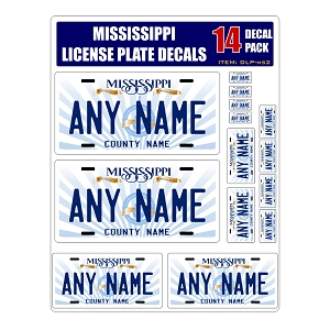 Personalized Mississippi License Plate Decals - Stickers Version 2