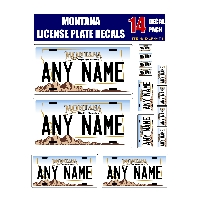 Personalized Montana License Plate Decals - Stickers Version 1