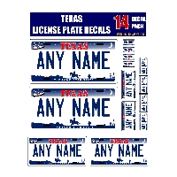 Personalized Texas License Plate Decals - Stickers Version 3