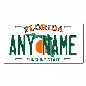 Florida License Plate for Bikes, Bicycles, ATVs, Cart, Walkers, Motorcycles, Wagons and Vehicles Version 1