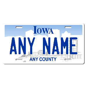 Iowa License Plate for Bikes, Bicycles, ATVs, Cart, Walkers, Motorcycles, Wagons and Vehicles Version 1