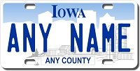 Iowa License Plate for Bikes, Bicycles, ATVs, Cart, Walkers, Motorcycles, Wagons and Vehicles