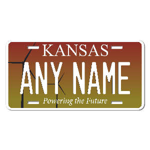 Kansas License Plate for Bikes, Bicycles, ATVs, Cart, Walkers, Motorcycles, Wagons and Vehicles Version 2