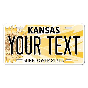 Kansas License Plate for Bikes, Bicycles, ATVs, Cart, Walkers, Motorcycles, Wagons and Vehicles Version 3