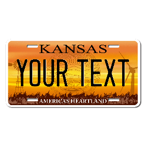 Kansas License Plate for Bikes, Bicycles, ATVs, Cart, Walkers, Motorcycles, Wagons and Vehicles Version 4