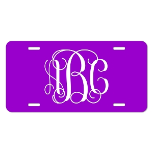 Vine Font Monogram License Plate - Sizes for Cars, Trucks, Bikes, Wagon and electric cars