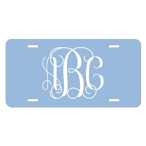 Vine Font Monogram License Plate - Sizes for Cars, Trucks, Bikes, Wagon and electric cars ( Carolina Blue )