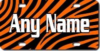 Orange Tiger Background Plate for Bikes, Bicycles, ATVs, Cart, Walkers, Motorcycles, Wagons and Vehicles