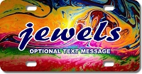Multi-Colored Paint Swirls License Plate for Bikes, Bicycles, ATVs, Cart, Walkers, Motorcycles, Wagons and Vehicles
