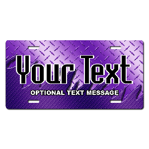 Purple Metal Plate Background Plate for Bikes, Bicycles, ATVs, Cart, Walkers, Motorcycles, Wagons and Vehicles