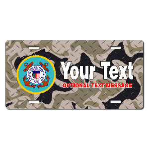 Coast Guard Seal / Brown Camo Background License Plate for Bikes, Bicycles, ATVs, Cart, Walkers, Motorcycles, Wagons and Vehicles