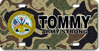 US Army Seal / Woodland Camo Background License Plate for Bikes, Bicycles, ATVs, Cart, Walkers, Motorcycles, Wagons and Vehicles