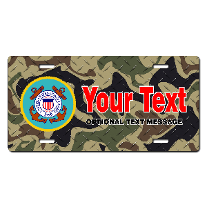 Coast Guard Seal / Woodland Camo Background License Plate for Bikes, Bicycles, ATVs, Cart, Walkers, Motorcycles, Wagons and Vehicles