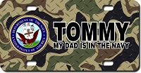 US Navy Seal / Woodland Camo Background License Plate for Bikes, Bicycles, ATVs, Cart, Walkers, Motorcycles, Wagons and Vehicles