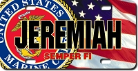 U.S. Marines Seal / American Flag Background License Plate for Bikes, Bicycles, ATVs, Cart, Walkers, Motorcycles, Wagons and Vehicle