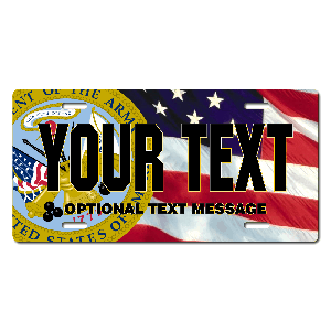 US Army Seal / American Flag Background License Plate for Bikes, Bicycles, ATVs, Cart, Walkers, Motorcycles, Wagons and Vehicles