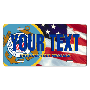 Coast Guard Seal / American Flag Background License Plate for Bikes, Bicycles, ATVs, Cart, Walkers, Motorcycles, Wagons and Vehicles