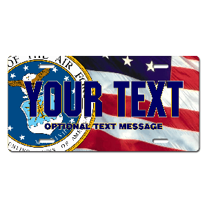 US Air Force Seal / American Flag Background License Plate for Bikes, Bicycles, ATVs, Cart, Walkers, Motorcycles, Wagons and Vehicles