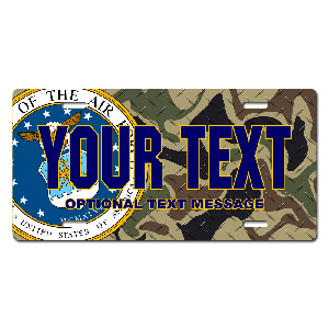 US Air Force Seal / Woodland Camo Background License Plate for Bikes, Bicycles, ATVs, Cart, Walkers, Motorcycles, Wagons and Vehicles