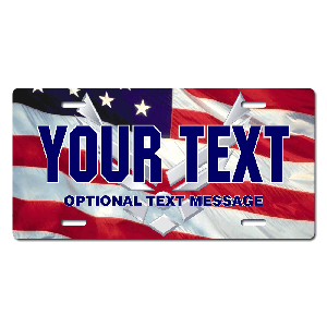 US Air Force w/ American Flag Background License Plate for Bikes, Bicycles, ATVs, Cart, Walkers, Motorcycles, Wagons and Vehicles