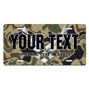US Air Force w/ Woodland Camo Background License Plate for Bikes, Bicycles, ATVs, Cart, Walkers, Motorcycles, Wagons and Vehicles