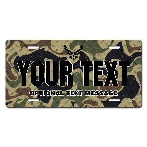 US Air Force Black Emblem w/ Woodland Camo Background License Plate for Bikes, Bicycles, ATVs, Cart, Walkers, Motorcycles, Wagons and Vehicles