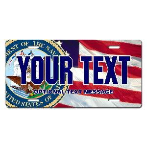 US Navy Seal w/ American Flag Background License Plate for Bikes, Bicycles, ATVs, Cart, Walkers, Motorcycles, Wagons and Vehicles