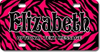 Hot Pink Zebra Background Plate for Bikes, Bicycles, ATVs, Cart, Walkers, Motorcycles, Wagons and Vehicles