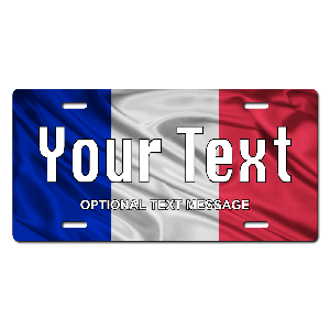 France Flag Plate for Bikes, Bicycles, ATVs, Cart, Walkers, Motorcycles, Wagons and Vehicles