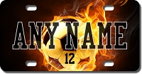 Flaming Soccer Ball Background Plate for Bikes, Bicycles, ATVs, Cart, Walkers, Motorcycles, Wagons and Vehicles